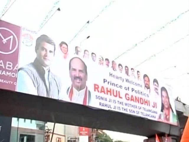 Video : At Hyderabad Road Show, 'Prince Of Politics' Posters For Rahul Gandhi