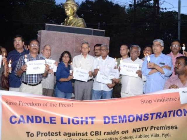 Video : Hyderabad Press Club, Other Journalists' Unions Hold Demonstration In Support Of NDTV