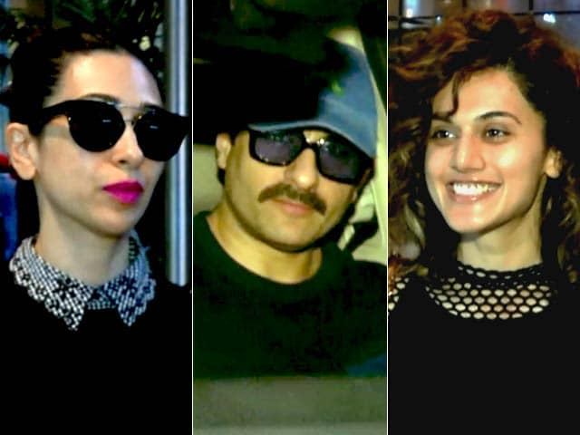 Video : Saif Ali Khan, Karisma Kapoor, Taapsee Pannu Return From New York
