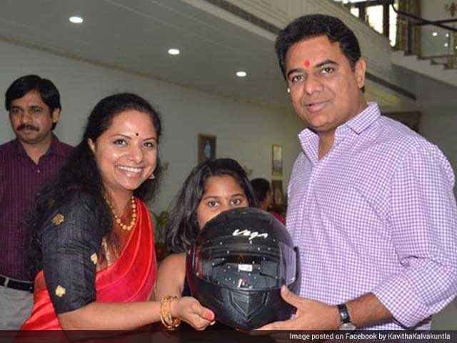 Video : Telangana Minister KT Rama Rao Gets A Helmet From Sister For Raksha Bandhan
