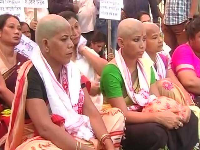 Video : In Assam, Women Shave Their Heads In Protest Against Government