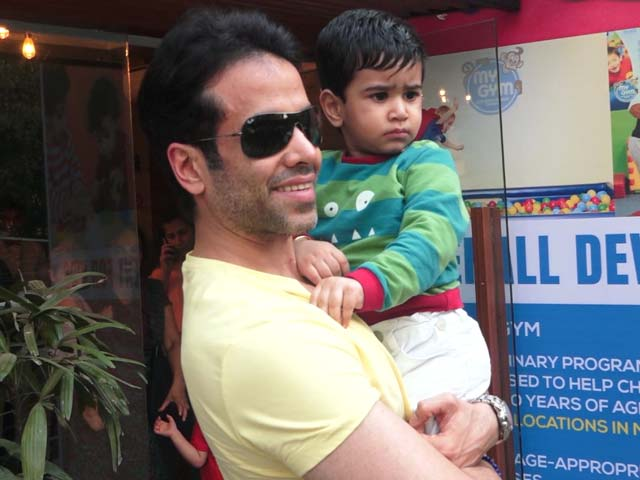 Spotted! Tusshar Kapoor With His Son Lakshya