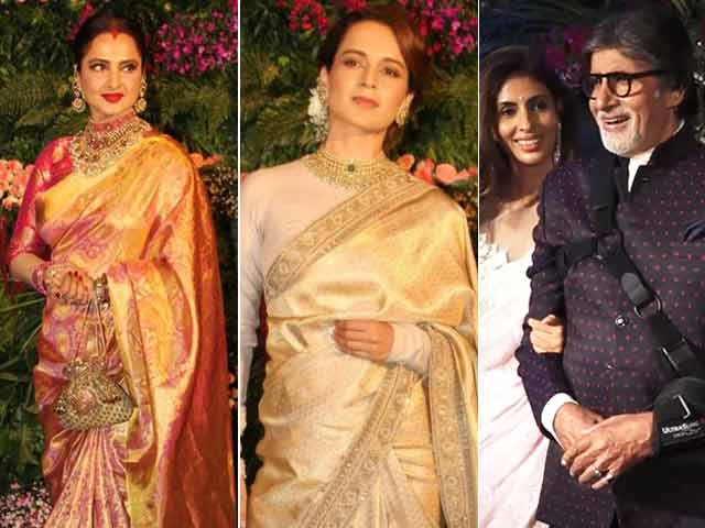 Video : Bachchans, Rekha, Kangana & KJO At Virat & Anushka's Reception