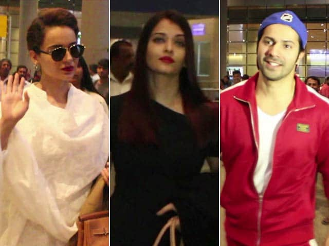Video : Spotted! Varun, Kangana, Abhishek & Aishwarya At Mumbai Airport