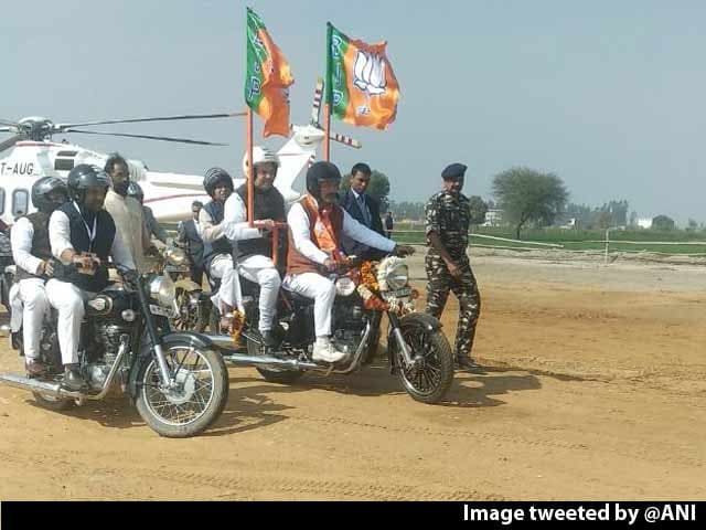 Video : Amit Shah, On Bike, Leads BJP's Mega Rally In Haryana's Jind