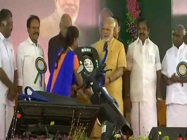 Video : PM Modi Launches Subsidised 'Amma' Two-Wheeler Scheme In Tamil Nadu