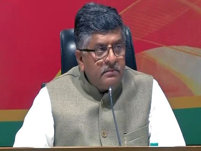 Video : Congress Is Anti-Reform, Says Minister Ravi Shankar Prasad