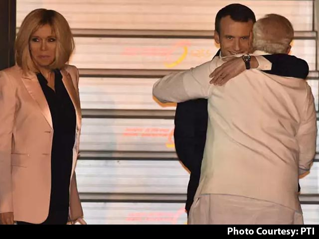 Video : France's Emmanuel Macron In India, Gets PM Modi's Hug