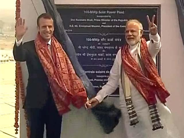 Video : PM Modi, French President Macron Inaugurate UP's Biggest Solar Power Plant