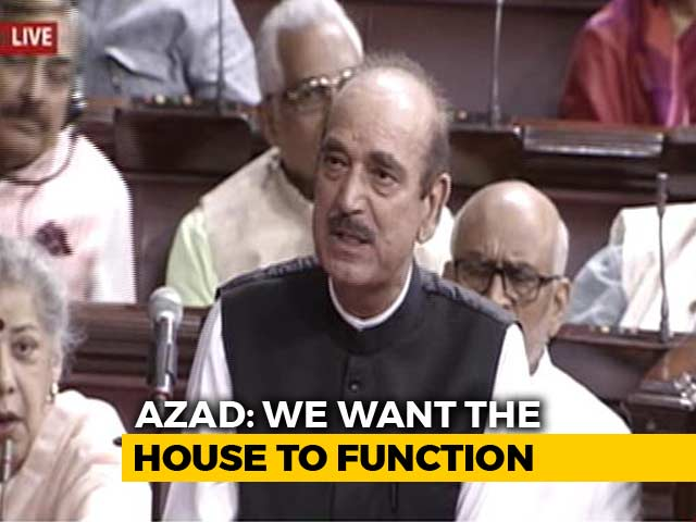 "Video : BJP ""Responsible For Impasse"", Says Ghulam Nabi Azad Amid Ruckus In Rajya Sabha"