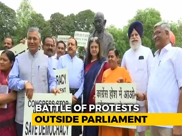 Video : Protest vs Protest In Parliament: BJP MPs To Fast, Congress Boycotts Tea