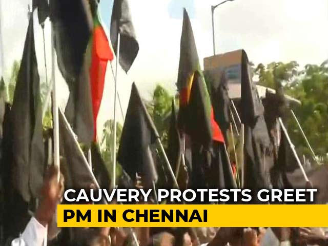 Video : Black Flag Cauvery Protests As PM Modi Arrives In Chennai for DefExpo