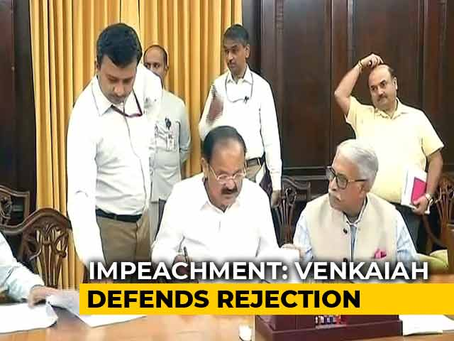 Video : Venkaiah Naidu Defends Move To Reject Chief Justice Impeachment Notice