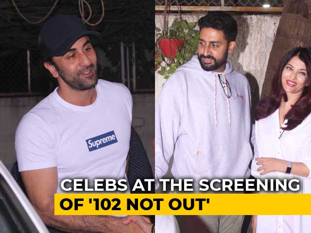 Video : Ranbir, Aishwarya & Abhishek At The Screening Of <i>102 Not Out</i>