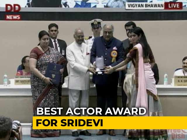 Video : Sridevi's Daughters And Husband Collect Her National Award
