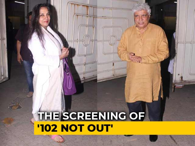 Javed Akhtar And Shabana Azmi At The Screening Of 102 Not Out