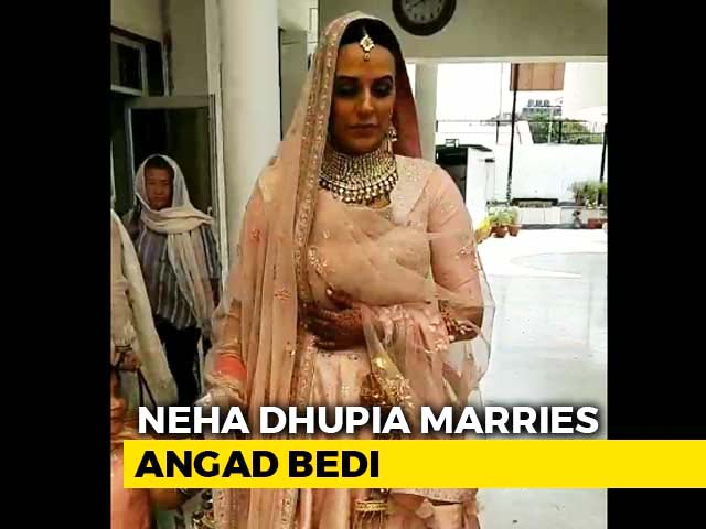 Neha Dhupia Marries Angad Bedi. Check Out Her Entry