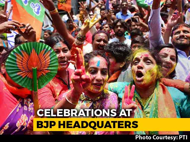 Video : Supporters Celebrate At BJP Headquarters In Karnataka