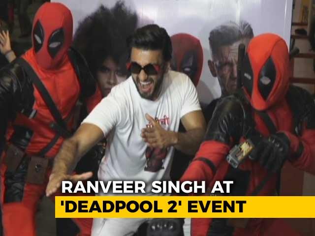 Video : Watch! Ranveer Singh Strikes A Pose At <i>Deadpool 2</i> Screening
