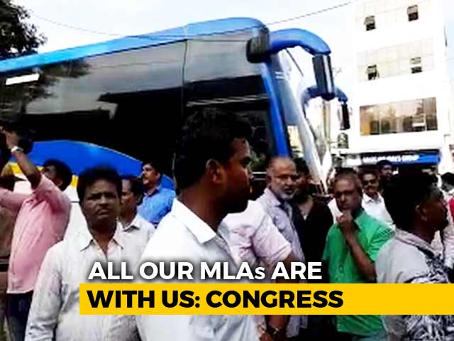 "Video : After ""Missing MLAs"" Scare, Busload Of Congress Men Taken To Governor"