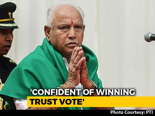 Video : BJP's Yeddyurappa To Take Floor Test Tomorrow At 4 pm