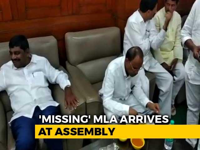 "Video : ""Missing"" Congress Lawmaker's Dramatic Return Before Karnataka Trust Vote"