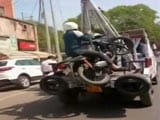 Video : Biker Towed Along With His Bike In Kanpur, Video Will Make You Laugh