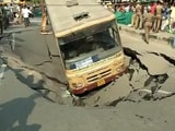 Video : Chennai Road Caves In, Takes Down Bus, Car