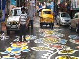 Video : Rangoli Hues Brighten Kolkata Road