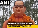 Video : Ambedkar Statue Vandalised In UP Gets Saffron Makeover, Then Repainted